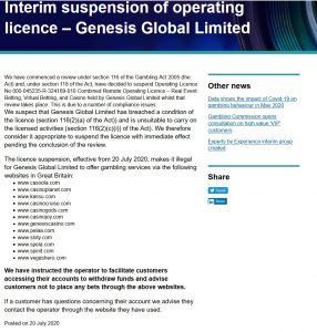 Indragen licens för Genesis Global Limited!